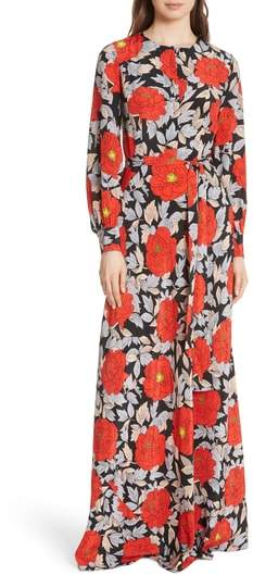 Waist Tie Silk Maxi Dress
