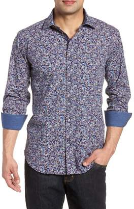 Bugatchi Midnight Bloom Shaped Fit Sport Shirt