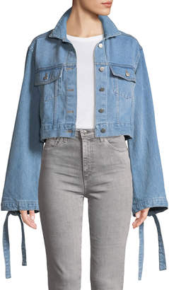 STYLEKEEPERS Denim Daze Flare-Sleeve Crop Denim Jacket