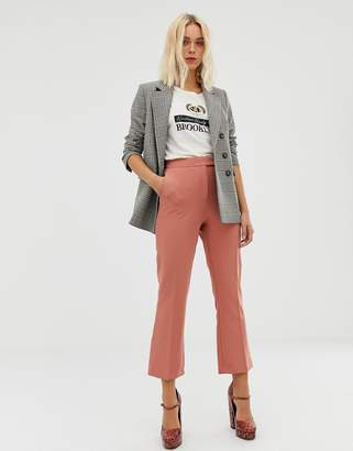 Miss Selfridge cropped pants with kick flare in pink