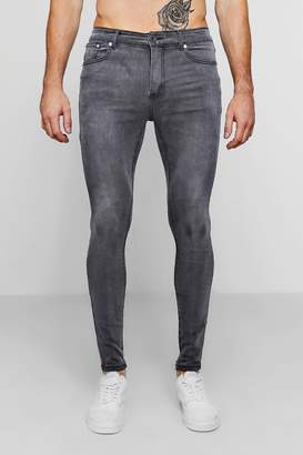 boohoo Spray On Skinny Jeans In Charcoal