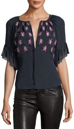 Cinq à Sept Daria Split-Neck Silk Blouse with Floral-Embroidery