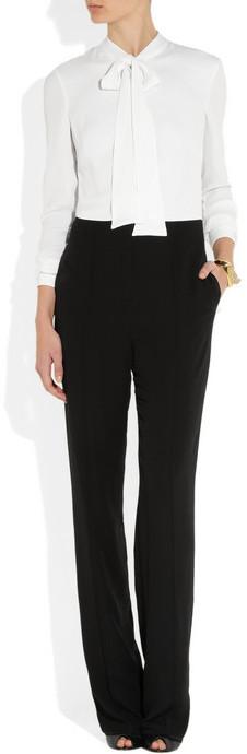 Valentino Two-tone silk-crepe jumpsuit