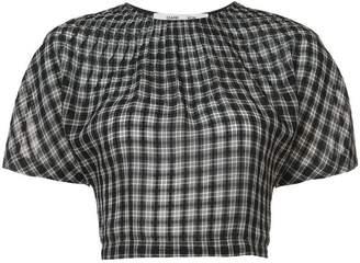 Diane von Furstenberg cropped gingham blouse