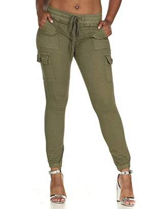 Cover Girl Junior's Plus Size Cargo High Waisted Slim Fit Solid Color Skinny Drawstring