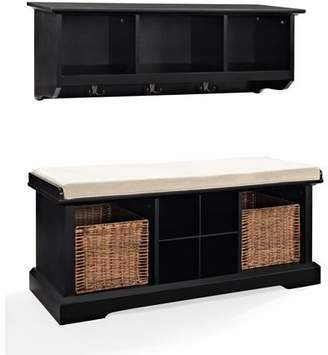 Crosley Furniture Brennan 2-Piece Entryway Bench and Shelf Set