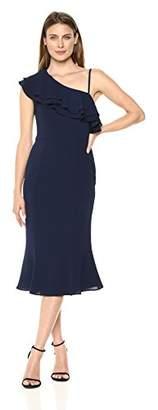 London Times Women's One Shoulder Midi Sheath with Flounce Dress