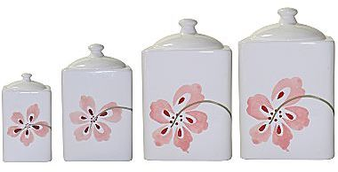 Corelle Set of 4 Pretty Pink Canisters