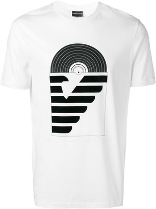Emporio Armani record logo print T-shirt