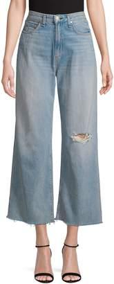 Rag & Bone Distressed High-Rise Wide-Leg Jeans