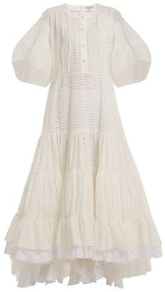 Natasha Zinko Broderie Anglaise Puff Sleeved Cotton Dress - Womens - White