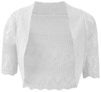 R KON Women's Crochet Knitted Bolero Cardigan Top Shrug US L/XL