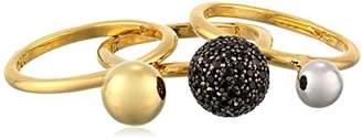 Noir Gold Black Three Sphere Set Ring