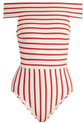 Solid & Striped The Vera Off The Shoulder Swimsuit - Womens - Red Stripe