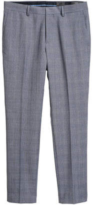 H&M Checked Suit Pants Slim fit - Blue