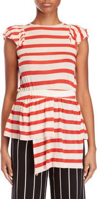 Alysi Stripe Ruffled Tunic Top