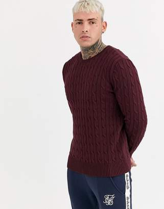 SikSilk muscle fit curved hem sweater in cable knit