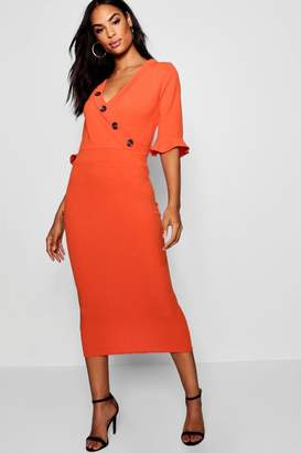 boohoo Tall Horn Button Off The Shoulder Wrap Midi Dress