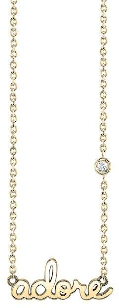 SHY BY SE 14K Yellow Gold Plated Sterling Silver Diamond 'Adore' Pendant Necklace - 0.015 ctw