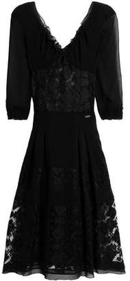 Just Cavalli Embroidered Tulle And Crepe Midi Dress