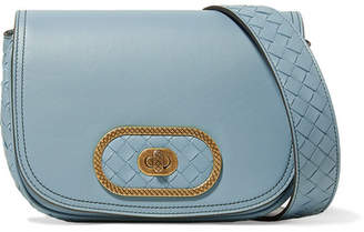 Bottega Veneta Luna Small Intrecciato Leather Shoulder Bag - Light blue