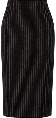 DKNY - Pinstriped Wool-blend Pencil Skirt - Black $400 thestylecure.com