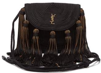 Saint Laurent Braided Cord Tasselled Shoulder Bag - Womens - Black