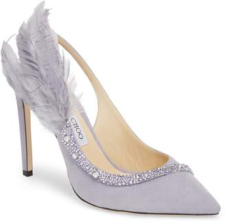 Jimmy Choo Tacey Crystal & Feather Embellished Slingback Sandal