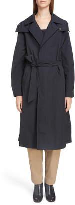 Toga Long Hooded Taffeta Coat