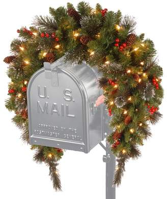 Three Posts Spruce Pre-Lit Mailbox Cover with 50 Battery-Operated White LED Lights