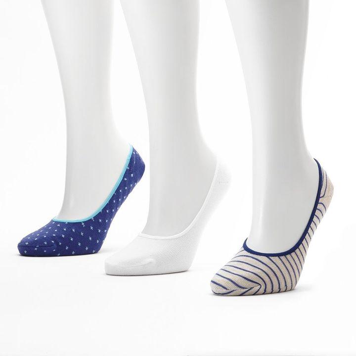 Pin dot & striped 3-pk. extra low-cut liner socks