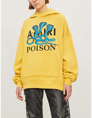 Amiri Snake-embroidered cotton-jersey hoody
