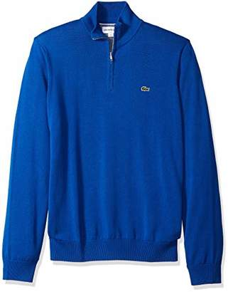 Lacoste Men's Long Sleeve 1/4 Zip Cotton Mock Neck Sweater