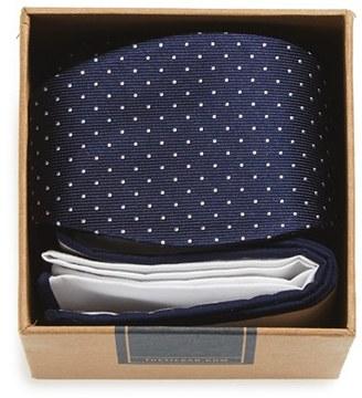 Men's The Tie Bar Dot Silk Bow Tie & Cotton Pocket Square Style Box $30 thestylecure.com