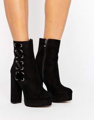 Public Desire Black Lace Side Platform Boots