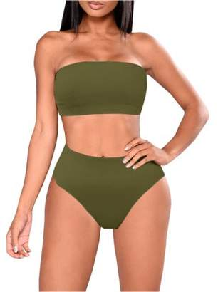 Lovaru Solid Color Women 2 Pieces Bikini Swimsuit