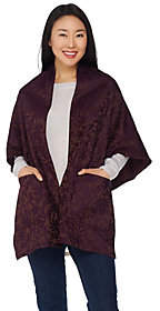 Weave of the Irish Open Front Jacquard Poncho with Pockets
