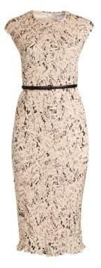 Max Mara Rino Printed Plisse Midi Dress