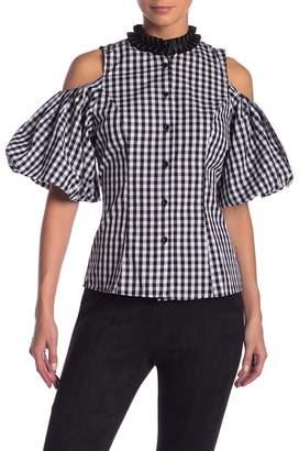 CQ by CQ Frill Collar Cold Shoulder Plaid Shirt