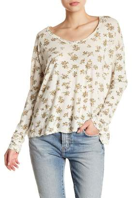 Current/Elliott Long Sleeve Floral Print Scoop Neck Linen Blend Tee