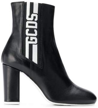 Gcds side logo stripe ankle boots