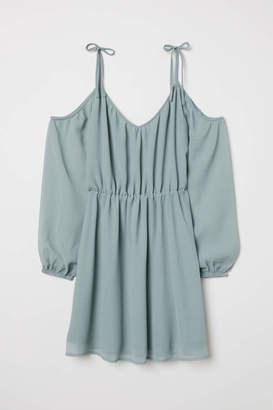 H&M Chiffon Dress - Gray-green - Women