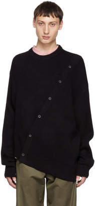 Lanvin Navy Asymmetric Button Crewneck Sweater
