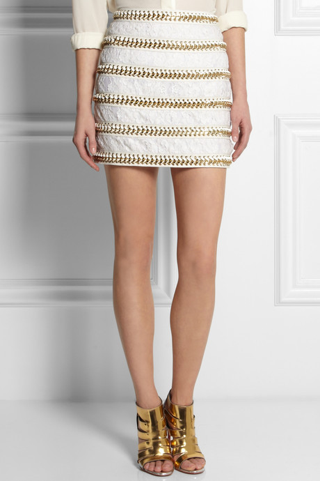 Balmain Chain-embellished lace and leather mini skirt
