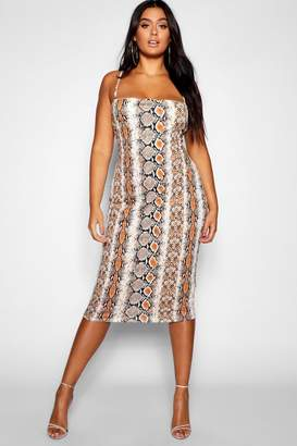 boohoo Plus Snake Spaghetti Strap Midi Dress