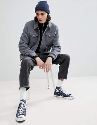 Asos DESIGN fleece western jacket in gray