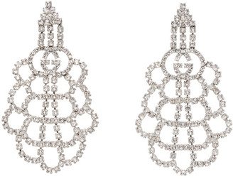 Gucci Silver Tennis Crystal Web Earrings