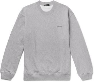 Balenciaga Logo-Print Loopback Cotton-Jersey Sweatshirt - Men - Gray