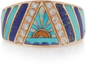 Jacquie Aiche 14K Gold Diamond Lapis Turquoise And Opal Ring
