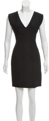 Lanvin V-Neck Textured Dress Black V-Neck Textured Dress